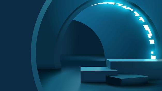 Corridoio futuristico con piattaforma vuota per la presentazione del display del prodotto