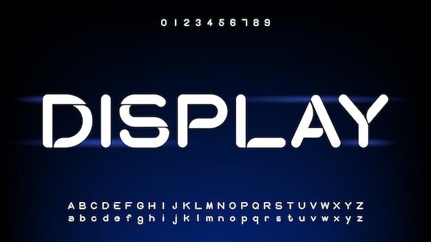 Tecnologia futuristica e digitale, caratteri alfabetici curvi