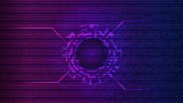 Modello futuristico di tecnologia digitale con spazi di copia. cerchio digitale al centro su uno sfondo viola astratto. elemento di design. layout per un banner o un sito web. eps10 vettore.