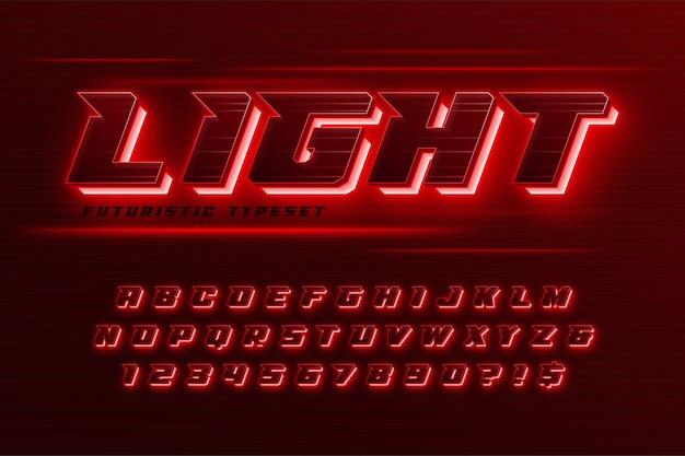 Alfabeto dinamico futuristico, set di caratteri extra luminosi e creativi.