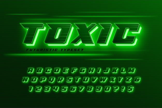 Alfabeto dinamico futuristico, design dello spazio extra luminoso, set di caratteri creativi.