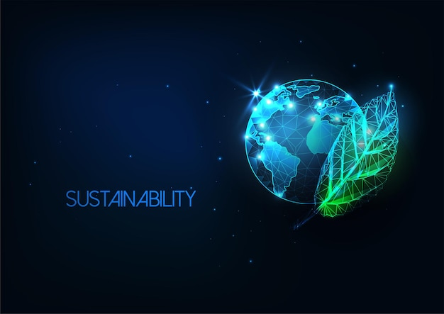 Concetto di conservazione dell'ambiente futuristico incandescente mappa del globo low poly con foglia verde isolato su sfondo blu scuro. concetto di conservazione dell'ambiente mondiale.