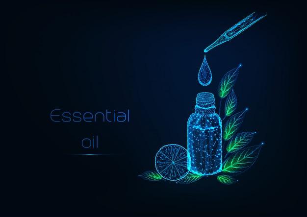 Futuristico concetto di terapia con oli essenziali con pipetta, bottiglia, goccia d'olio, foglie di erbe, limone