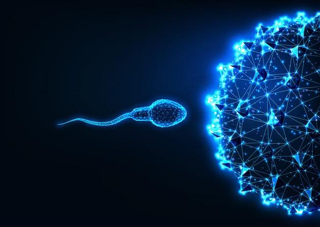 Futuristico concetto di fecondazione con spermatozoi poligonali bassi e cellule uovo