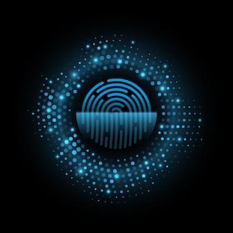Illustrazione di sicurezza dei dati biometrici dell'impronta digitale futuristica