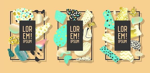 Cornici futuristiche con elementi dorati geometrici astratti. grafica d'arte moderna per volantini, poster, striscioni, manifesti, brochure con posto per il testo. illustrazione vettoriale