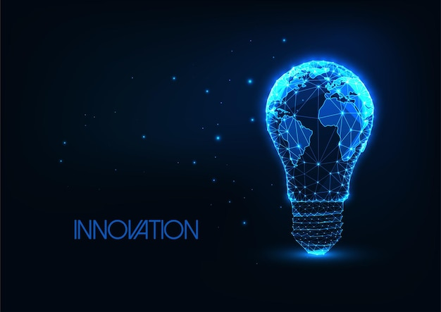 Energia globale futuristica, concetto di innovazione con lampadina poligonale bassa incandescente con mappa della terra
