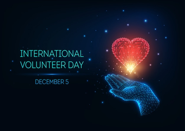 Bagliore futuristico low poly international volunteer day concept