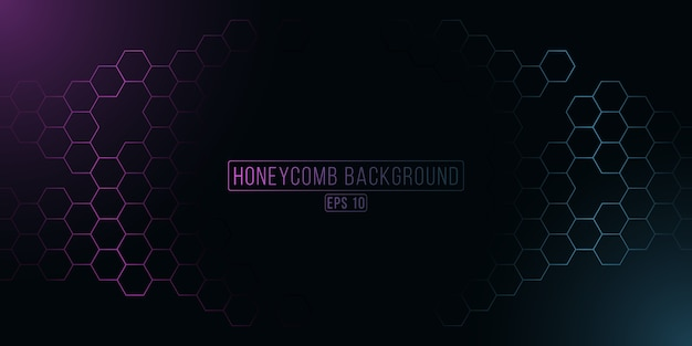 Griglia a nido d'ape esagonale incandescente futuristica. sfondo cyber viola e blu