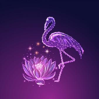 Futuristico incandescente basso poligonale bellissimo fenicottero in piedi e fiore di loto isolato su sfondo blu scuro a viola.