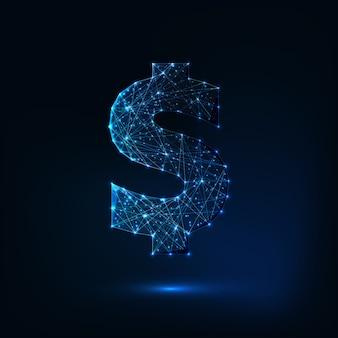 Futuristico incandescente basso poligonale simbolo del dollaro