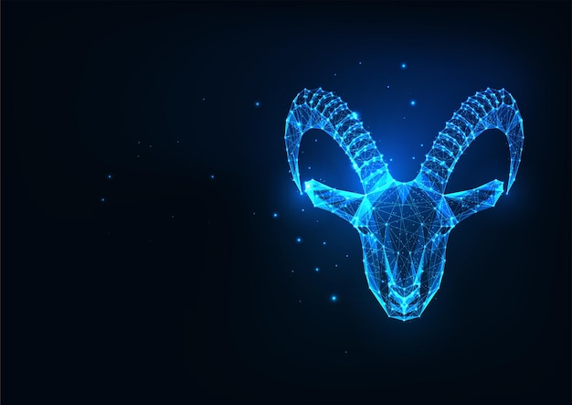 Futuristico incandescente basso poligonale muflone protrait capricorno isolato su blu scuro