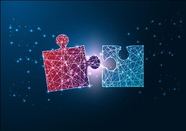 Futuristico design wireframe incandescente pezzi di puzzle rossi e blu che si adattano l'un l'altro