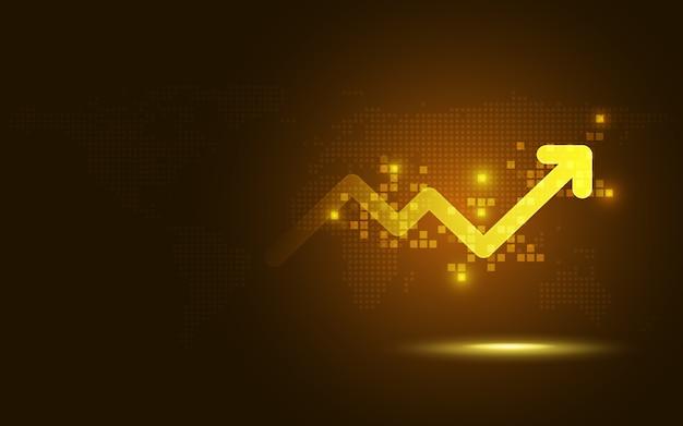 Fondo futuristico di tecnologia dell'estratto del grafico della freccia dell'elevazione dell'oro