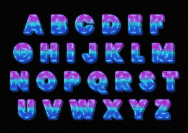 Set di alfabeti leggeri grafici futuristici