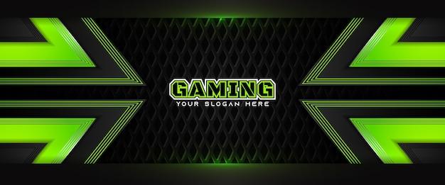 Modello di banner social media intestazione di gioco futuristico verde e nero
