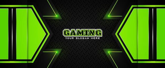 Modello di banner di social media intestazione di gioco futuristico verde e nero