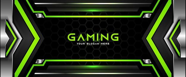 Modello futuristico di banner per social media con intestazione di gioco verde e nero