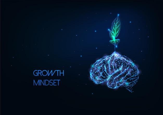 Concetto di mentalità crescente futuristico con pianta verde poligonale bassa incandescente che cresce dal cervello umano