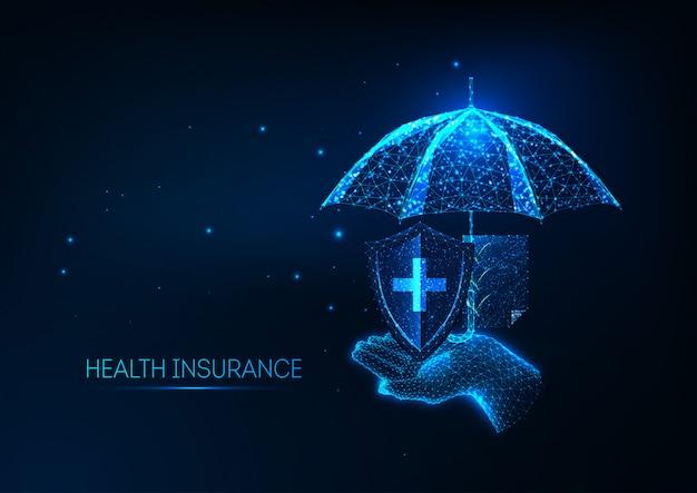 Concetto di assicurazione sanitaria futuristica.