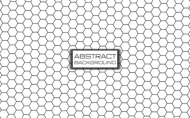 Modello esagonale futuristico fatto di linee e un triangolo su sfondo bianco