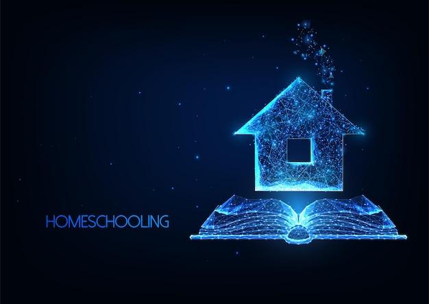 Futuristico homeschooling, lezioni online in remoto concetto con casa poligonale bassa incandescente e libro aperto.