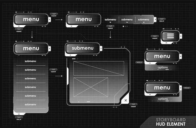 Fotogrammi hud futuristici per lo storyboard dell'interfaccia dell'interfaccia utente in stile futuristico