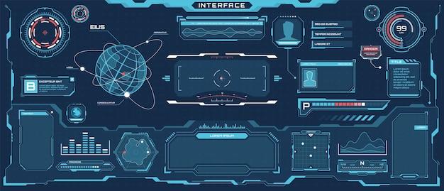 Interfaccia futuristica hud set di schermate ologramma con layout di visualizzazione comunicazione virtuale scifi