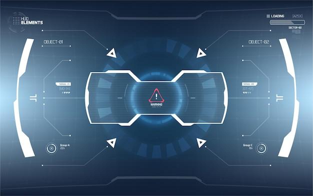 Design futuristico dello schermo dell'interfaccia hud