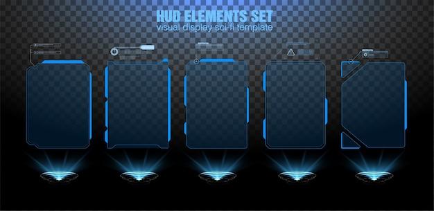 Schermata dell'interfaccia hud futuristica. titoli di callout digitali. set di elementi dell'interfaccia utente futuristica della gui dell'interfaccia utente hud.