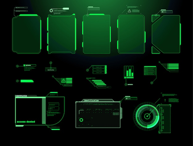 Schermata futuristica dell'interfaccia hud. titoli di callout digitali. hud ui gui futuristico set di elementi dello schermo dell'interfaccia utente. schermo ad alta tecnologia per videogiochi. concept design fantascientifico.
