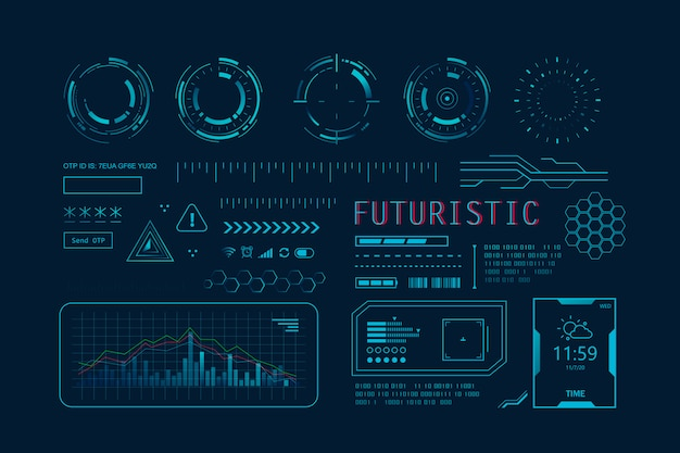 Interfaccia utente hud futuristica per app. interfaccia utente imposta elementi hud e infografici, grafica virtuale, simulazione.