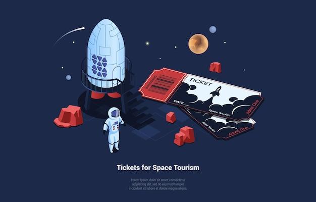 Illustrazione futuristica sul concetto di turismo spaziale. illustrazione isometrica 3d nello stile del fumetto su blu scuro