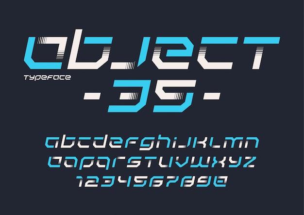 Design futuristico del carattere tipografico industriale