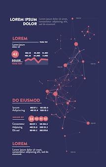 Infografica futuristica. estetica dell'informazione. visualizzazione grafica di thread di dati complessi. grafico dati astratto.