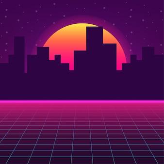 Paesaggio futuristico con griglia laser in stile. neon retrowave