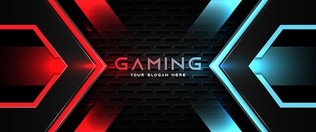 Modello di banner di social media intestazione di gioco futuristico rosso chiaro e blu