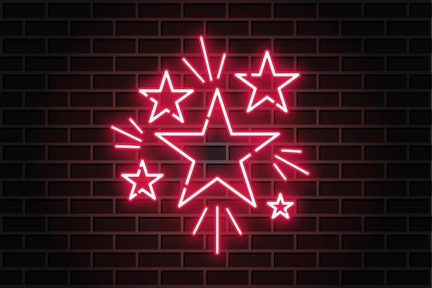 Muro di mattoni rosso neon futuristico stella luminosa