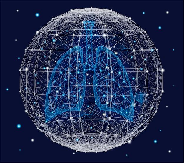 Concetto medico futuristico con polmoni umani blu e sfera del plesso. disegno geometrico astratto con effetto plesso