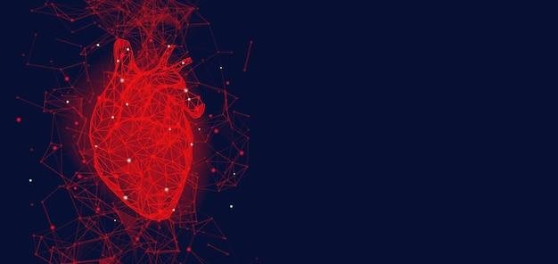 Concetto medico futuristico con cuore umano rosso