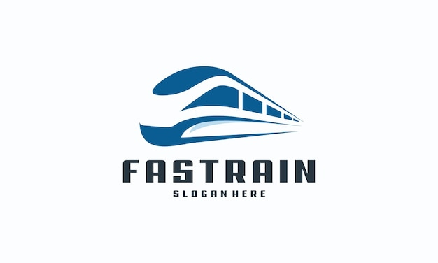 Icona futuristica del logo per il trasporto ferroviario della metropolitana, il logo del treno veloce progetta il concetto vettoriale