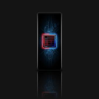 Processore di microchip futuristico sul telefono. telefono quantistico, elaborazione di big data, concetto di database.
