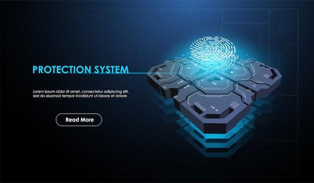 Processore futuristico a microchip con elemento id biometrico.