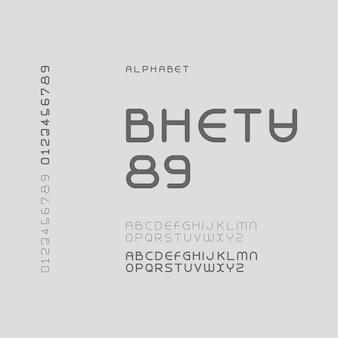 Lettera dell'alfabeto moderno futuristico o font tipografia casual font logo font vettore premium