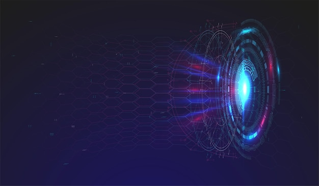 Design moderno e futuristico dello schermo dell'interfaccia hud. interfaccia utente futuristica astratta su sfondo blu. sfondo astratto. fondo astratto di concetto dell'innovazione di progettazione di tecnologia.