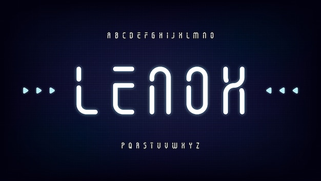 Carattere dello stencil del display a luce condensata arrotondato moderno futuristico, set di lettere pulite fantascientifiche astratte, carattere tipografico lenox