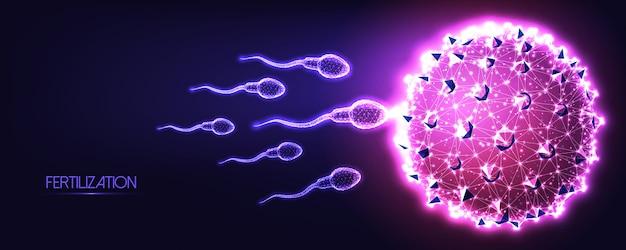Futuristico concetto di fertilizzazione naturale con sperma umano poligonale basso incandescente e cellule uovo su sfondo blu scuro a viola.
