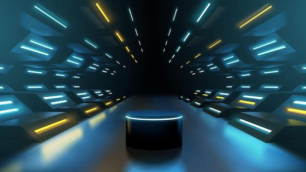 Modello futuristico del podio del corridoio al neon