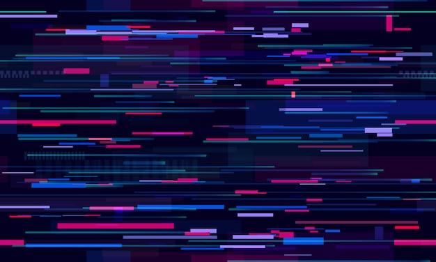 Futuristico glitch al neon. linee tecnologiche della vita notturna glitch, movimento dell'illuminazione stradale e tecnologia seamless