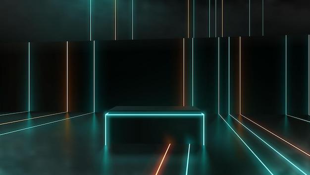 Futuristico neon modello piattaforma podio